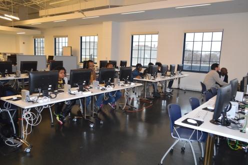 Teen Council editing in the NineLAB, 2015